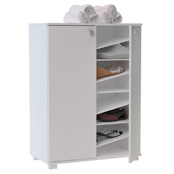 Normandy Modern White Shoe Storage Cabinet