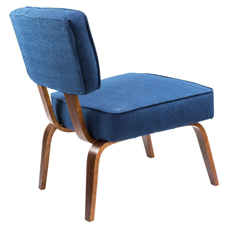 Norwich Blue Fabric + Wood Contemporary Chair
