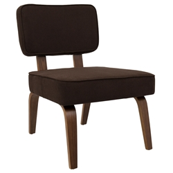 Norwich Espresso Fabric + Walnut Wood Contemporary Accent Side Chair