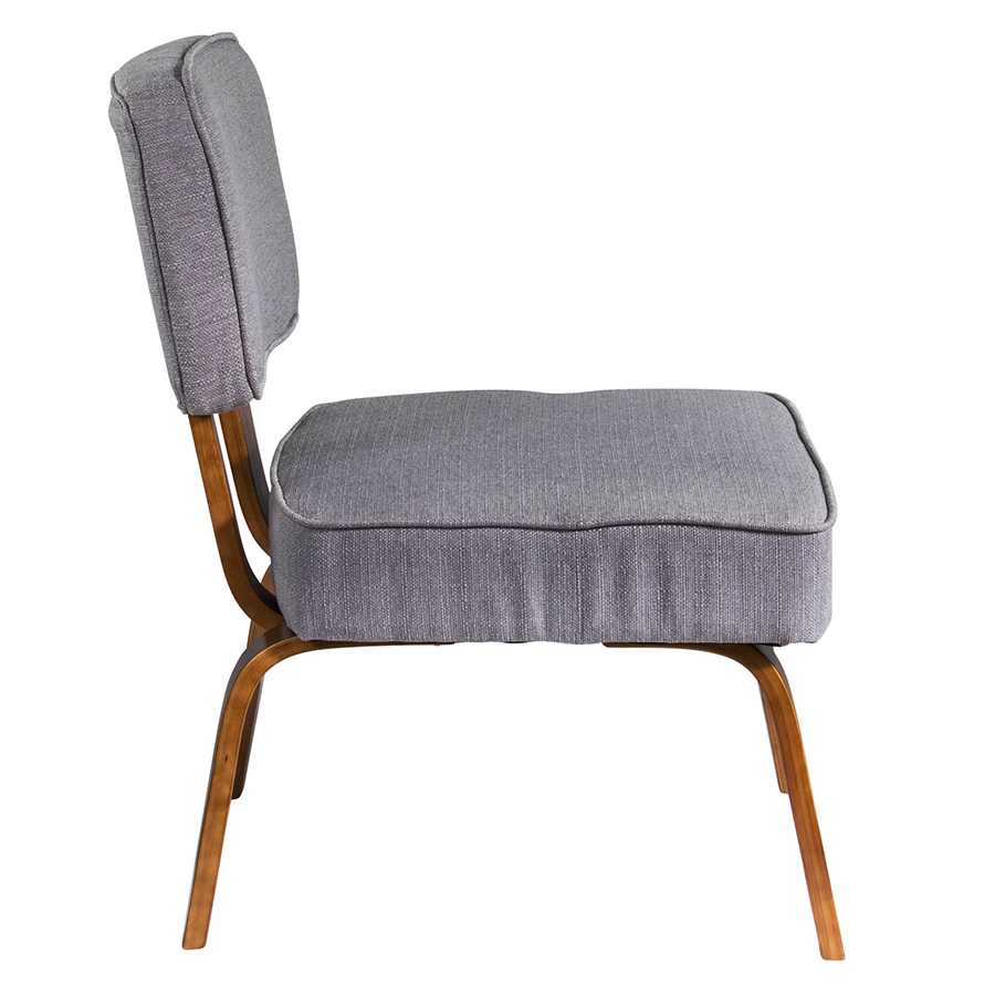 Norwich Gray Fabric + Plywood Modern Chair