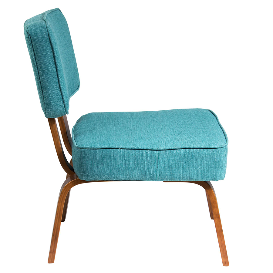 Norwich Teal Fabric + Wood Modern Chair