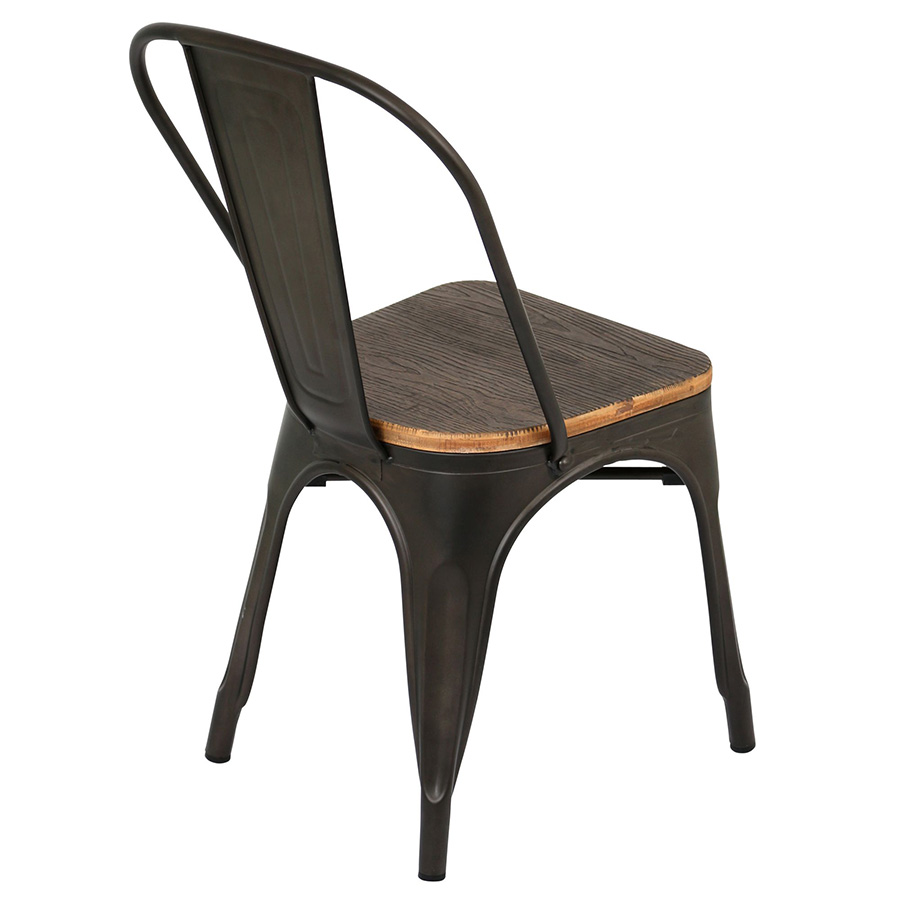 Oakland Antique + Espresso Rustic Modern Dining Chair - Back View