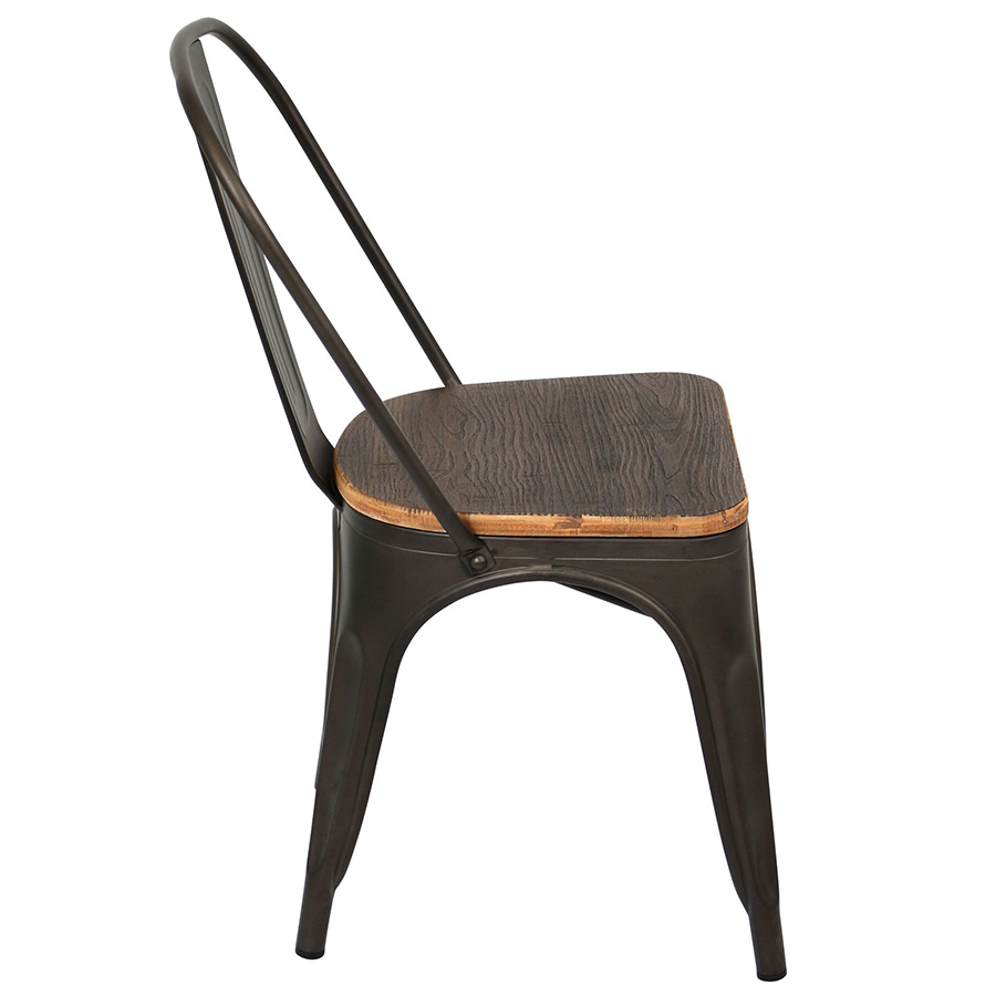 Oakland Antique + Espresso Rustic Modern Dining Chair - Side View