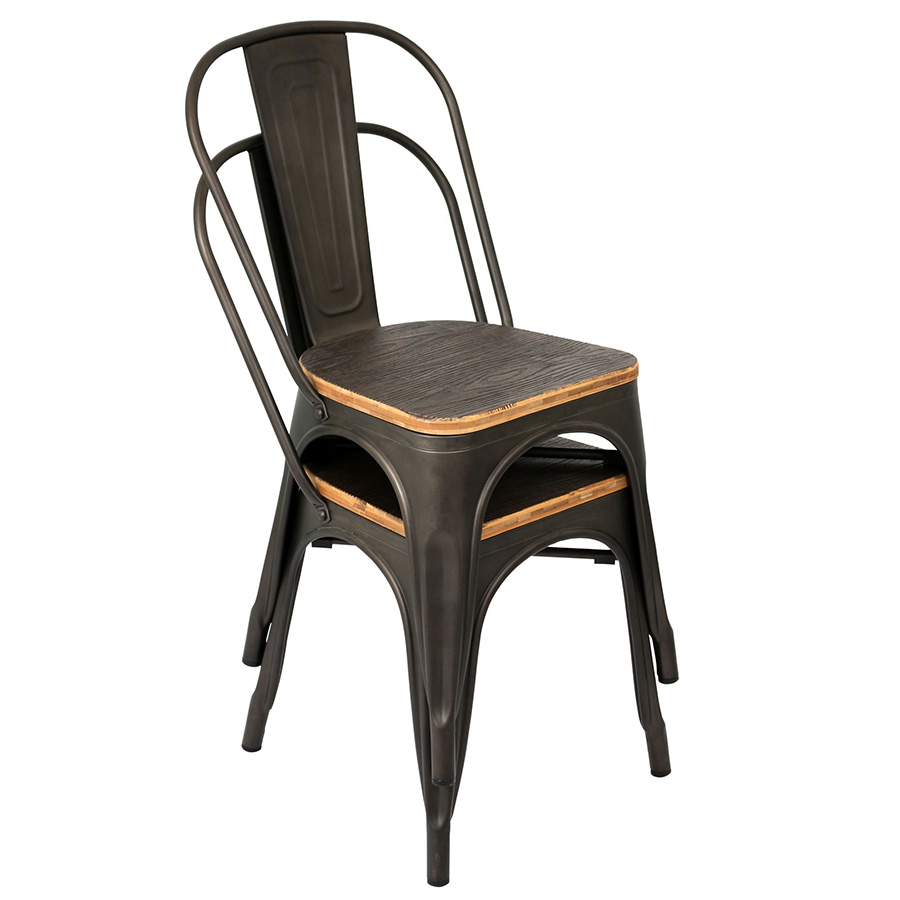 Oakland Antique + Espresso Rustic Modern Dining Chair - Stacked