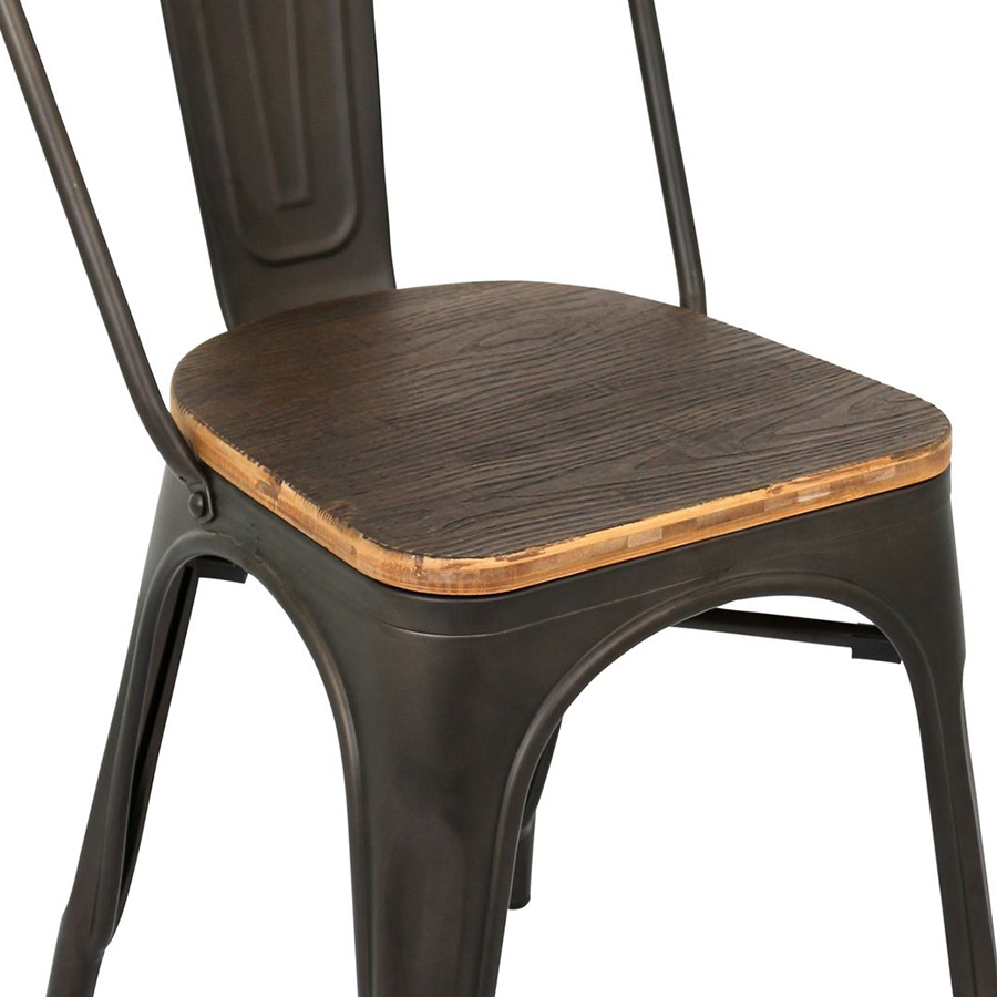 Oakland Antique + Espresso Rustic Modern Dining Chair - Seat Detail