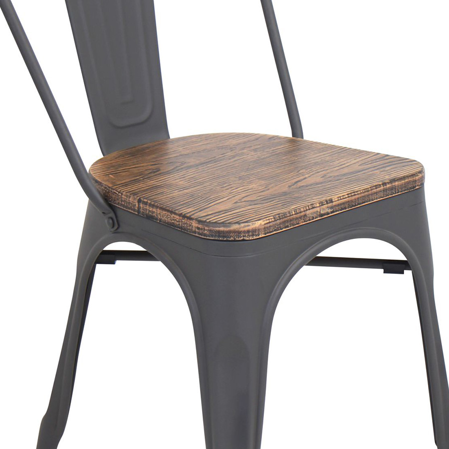 Oakland Aged + Gray Rustic Modern Dining Chair - Seat Detail