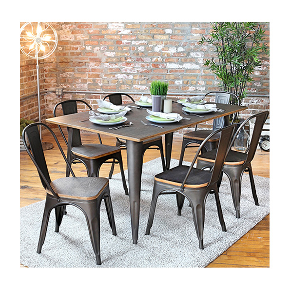 Oakland Contemporary Rustic Dining Table + Chairs