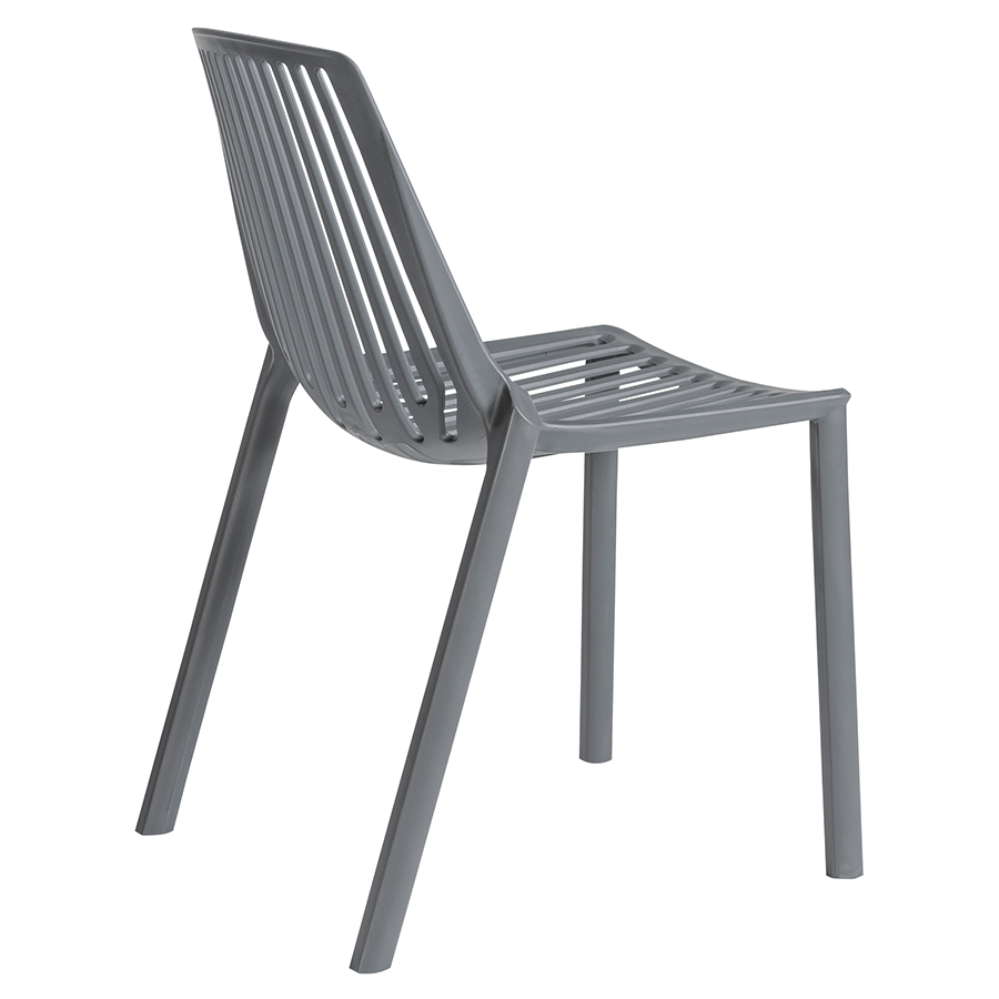 Oasis Gray Polypropylene Contemporary Stacking Chair