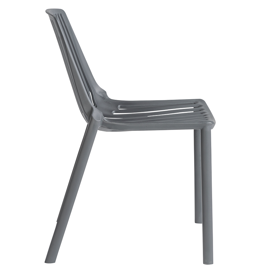 Oasis Gray Polypropylene Modern Stacking Chair