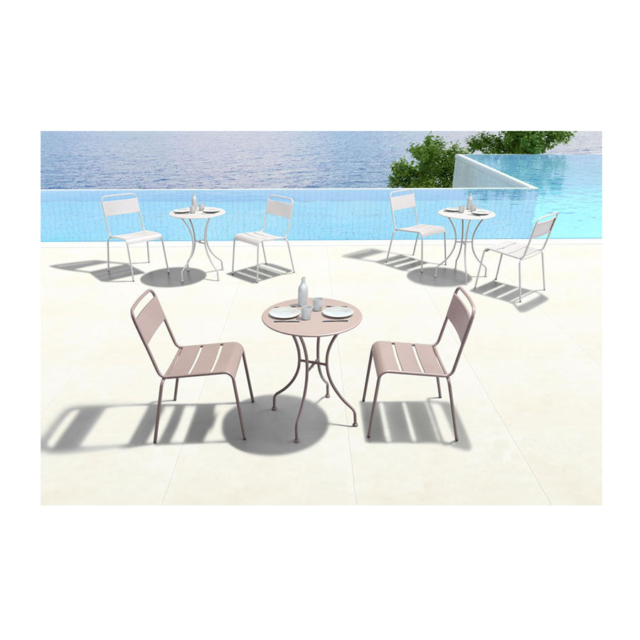 Octavio Steel Taupe Round Modern Outdoor Dining Table