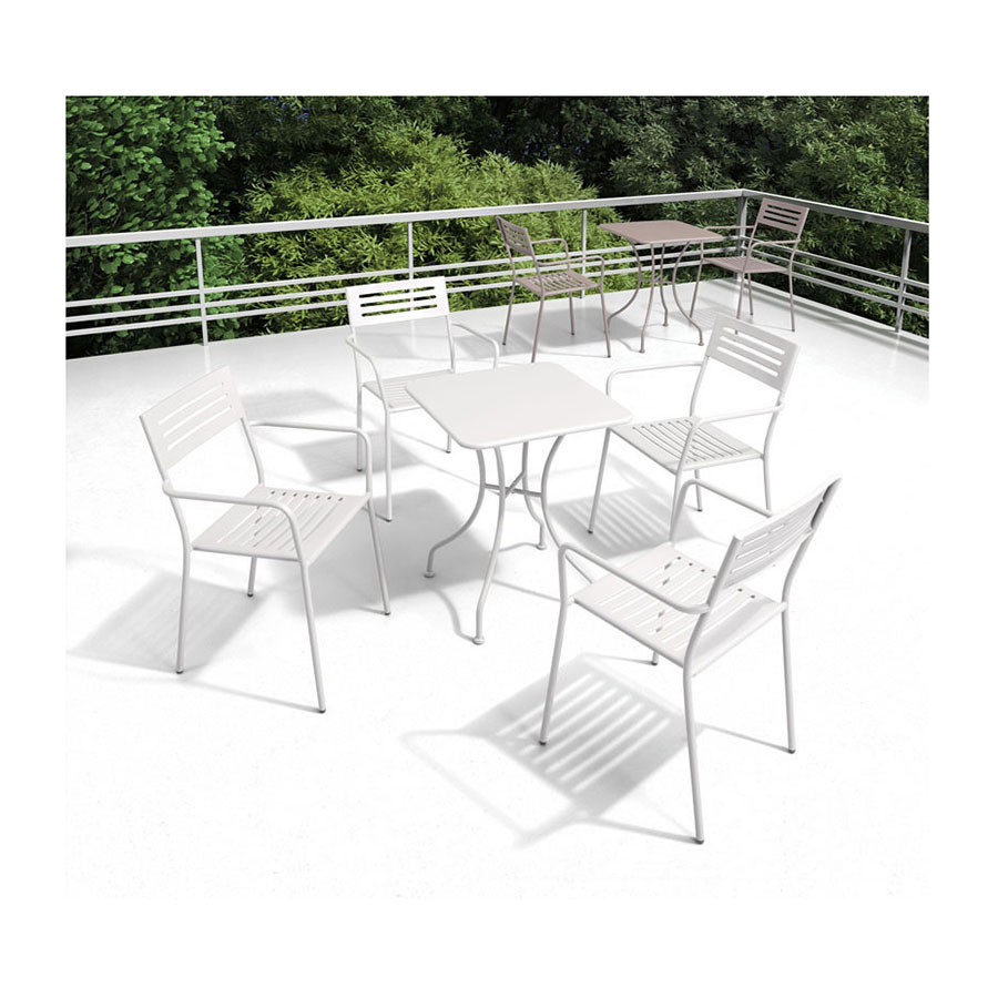 Octavio White Steel Square Modern Outdoor Dining Table