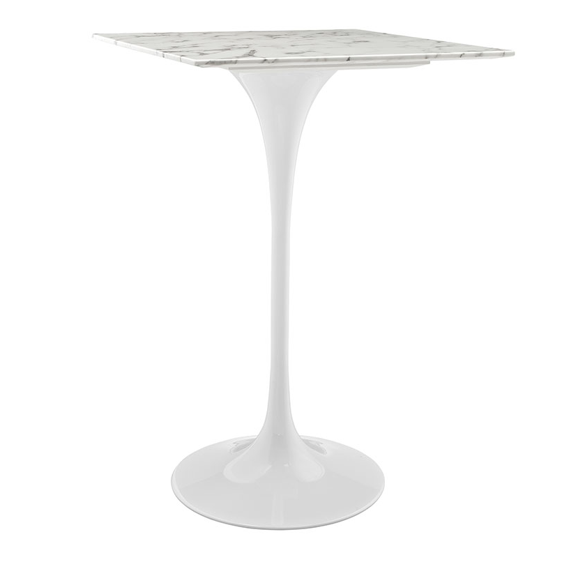 "Odyssey 28"" Square Marble Modern Bar Table"