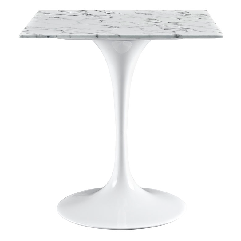 "Odyssey 28"" Square Marble Contemporary Dining Table"