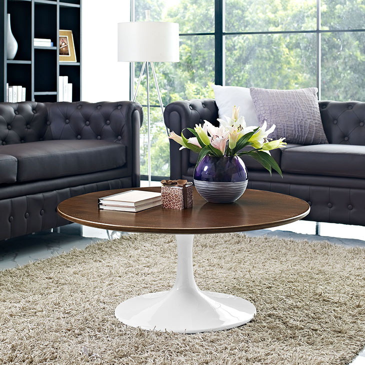 "Odyssey 36"" Round Walnut Contemporary Coffee Table"