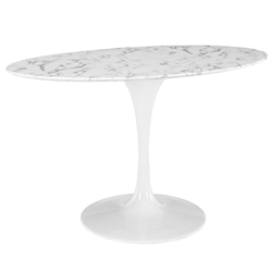 "Odyssey 54"" Oval White Marble Modern Dining Table"