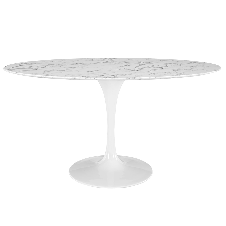 "Odyssey 60"" Oval White Marble Contemporary Dining Table"