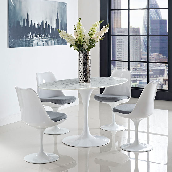 "Odyssey 60"" Oval White Marble Contemporary Dining Table Room Shot"