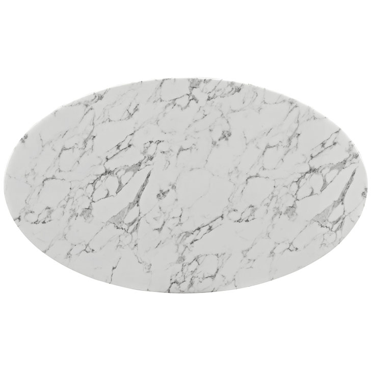 "Odyssey 60"" Oval White Marble Modern DIning Table Top"