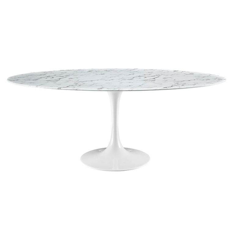 odyssey 78 oval white marble modern dining table eurway. Black Bedroom Furniture Sets. Home Design Ideas