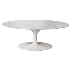 Odyssey Mid-Century Modern Carrara Marble Coffee Table