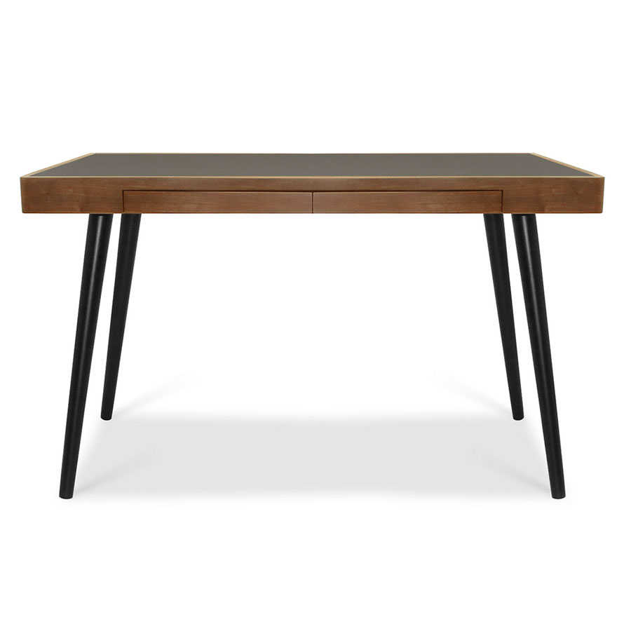 Ogden Modern Black + Walnut Desk - Front View
