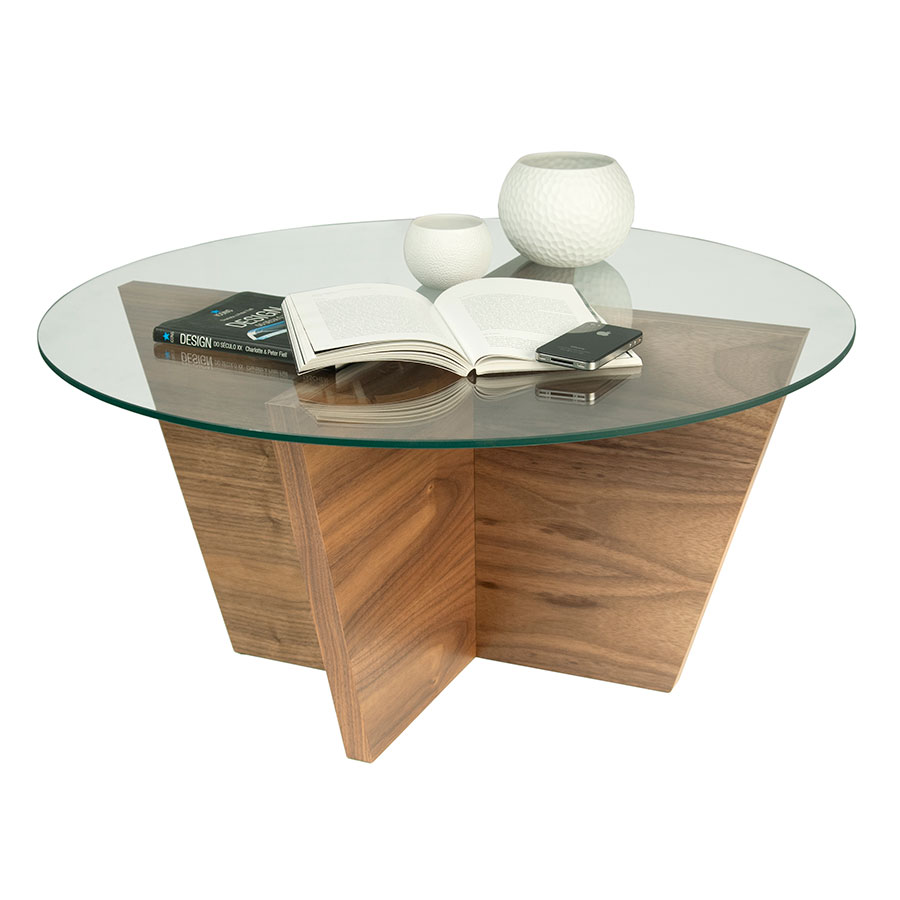 Oliva Round Walnut Contemporary End Table Dressed