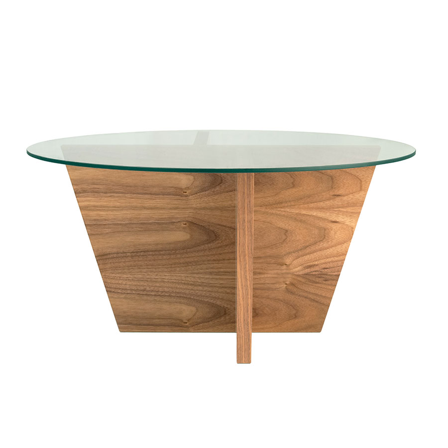 Oliva Round Walnut Contemporary End Table Front