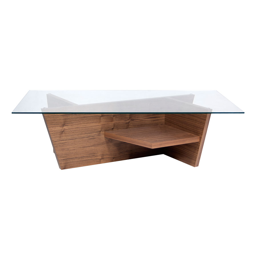 Olivia Walnut Contemporary Cocktail Table Front