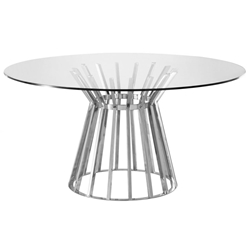 Omaha Modern Round Glass Dining Table
