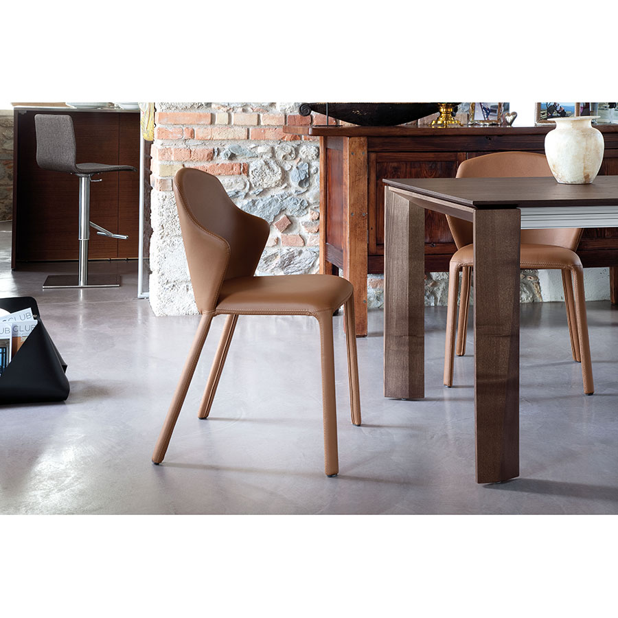 Orion Tobacco Leather Contemporary Dining Chair
