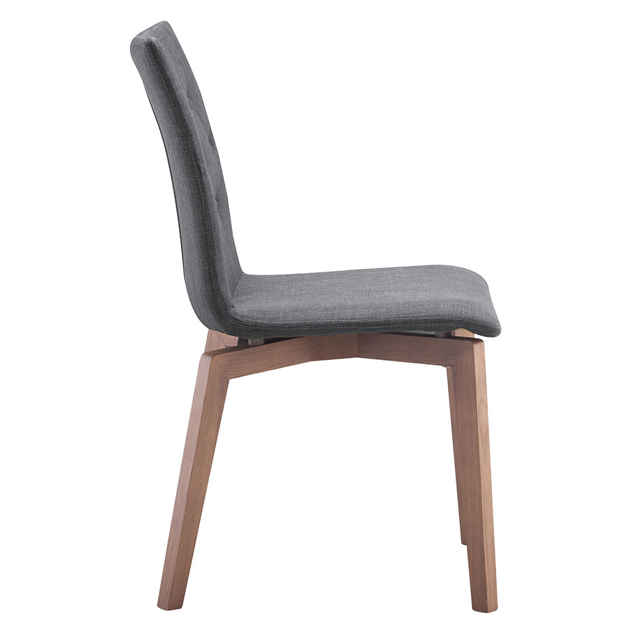 Orson Graphite Wood + Velour Modern Dining Chair