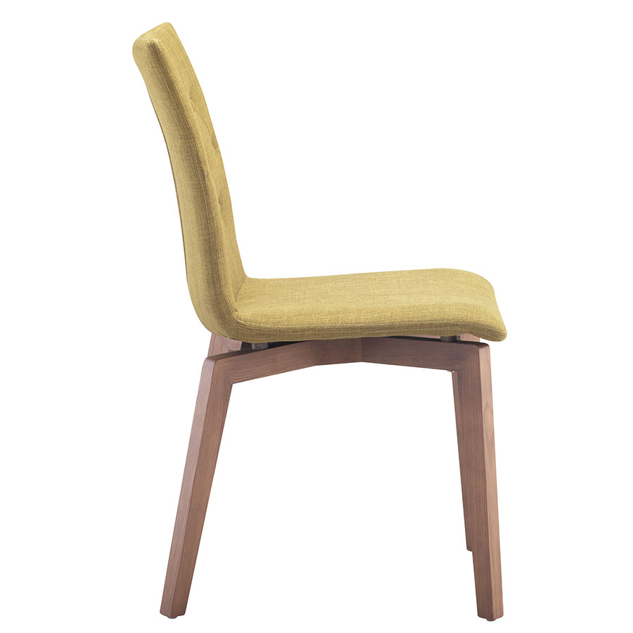 Orson Pea Walnut + Velour Modern Dining Chair