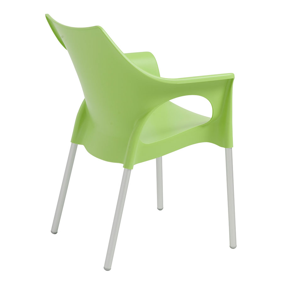 Ola Green Plastic + Aluminum Contemporary Dining Chair