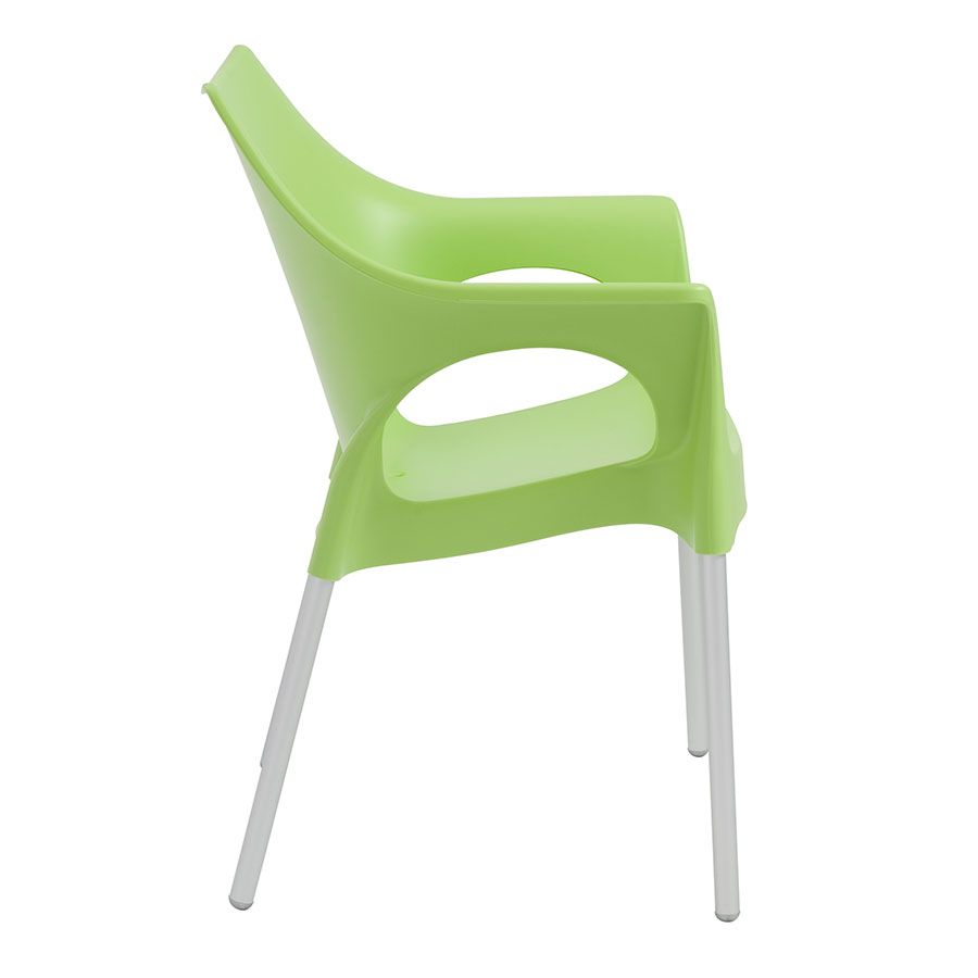 Ola Green Plastic + Aluminum Modern Dining Chair