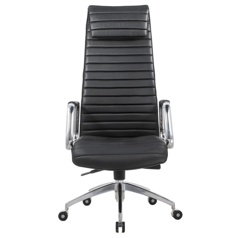 Oxford Black Leatherette + Chrome Modern Executive Office Chair
