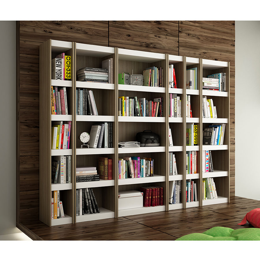 Panama Oak and White Laminate Bookcases