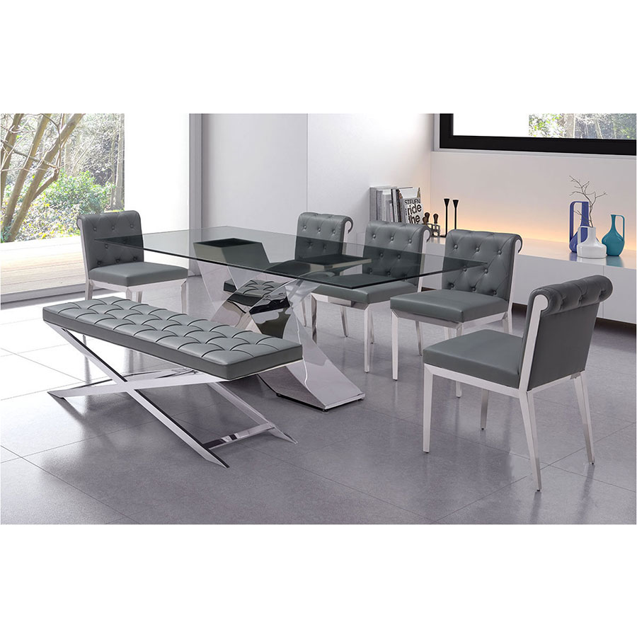 Panos Gray Tufted Leatherette + Polished Steel Modern Bench