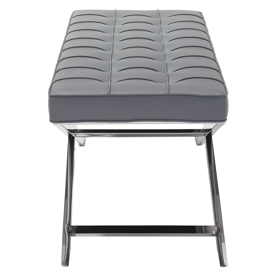 Panos Gray Leatherette Modern Bench