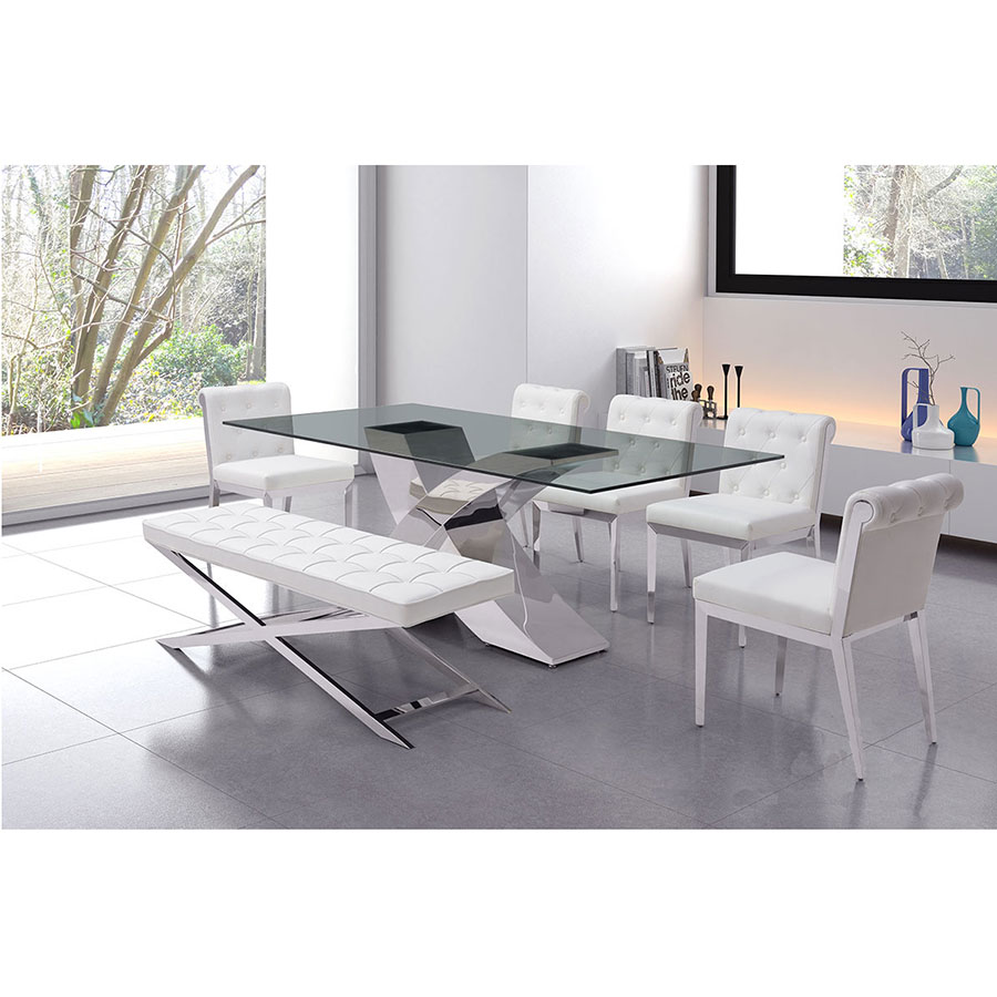 Panos White Leatherette + Polished Steel Modern Bench