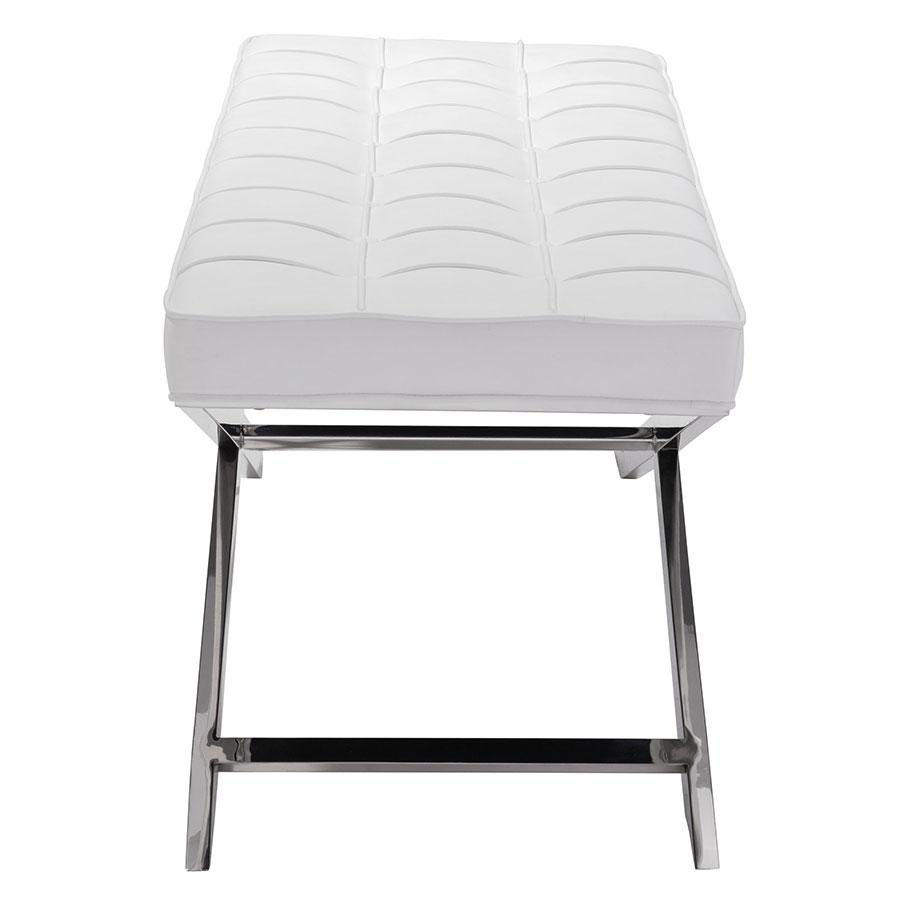 Panos White Leatherette Modern Bench