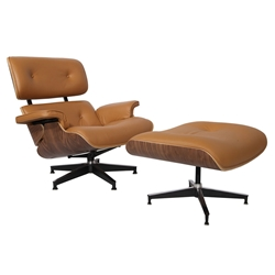 Paragon Modern Terracotta Leather & Walnut Lounge Chair + Ottoman