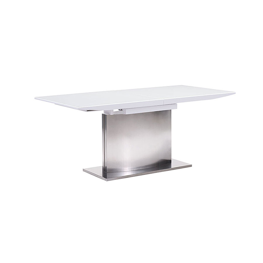 Parker Modern White Glass Extension Table - Closed