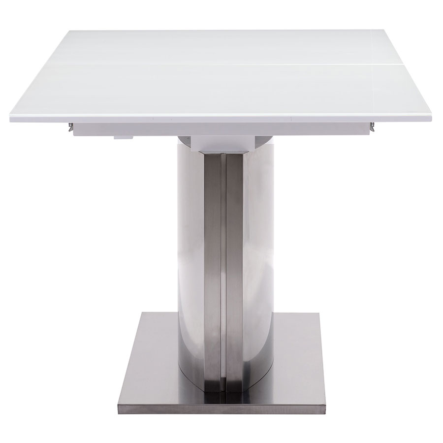 Parker Modern White Glass Extension Table - End View