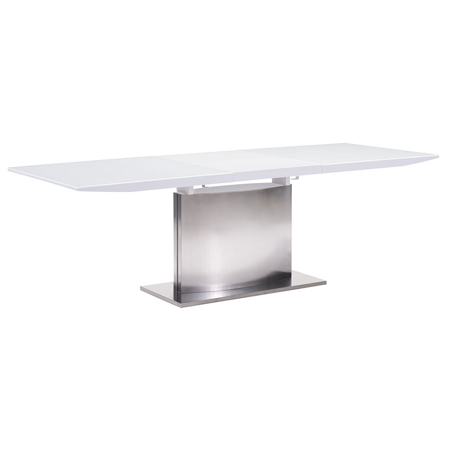 Parker Modern White Glass Extension Table