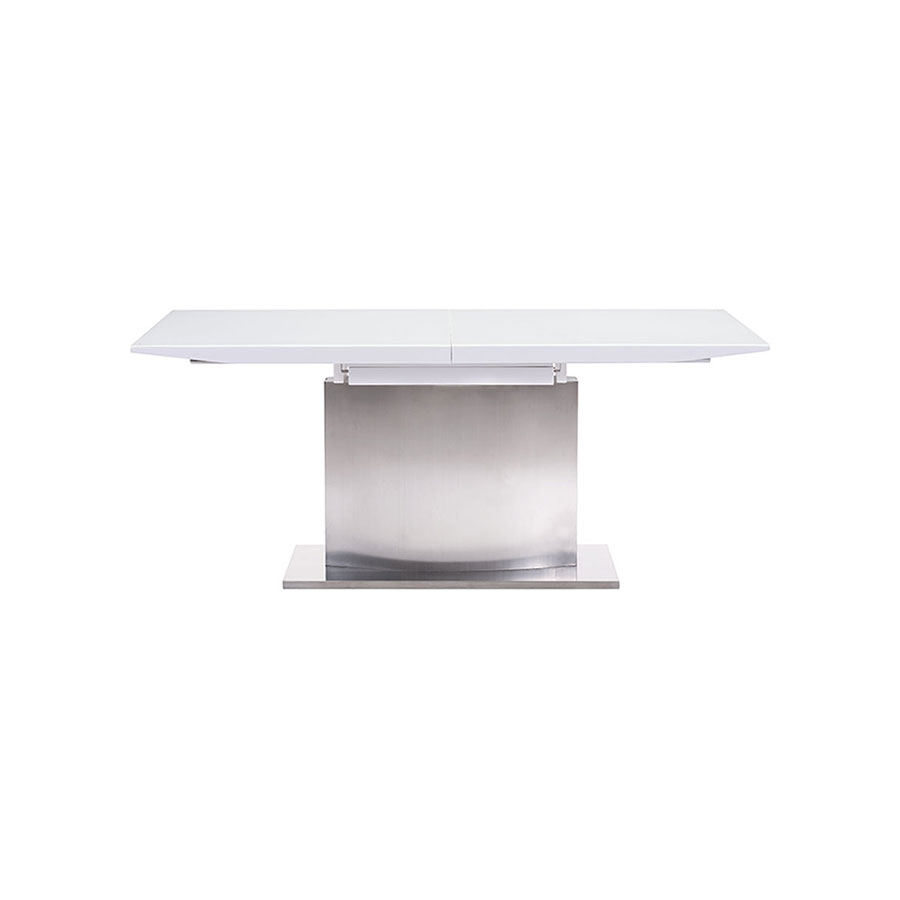 Parker Modern White Glass Extension Table - Closed Side View