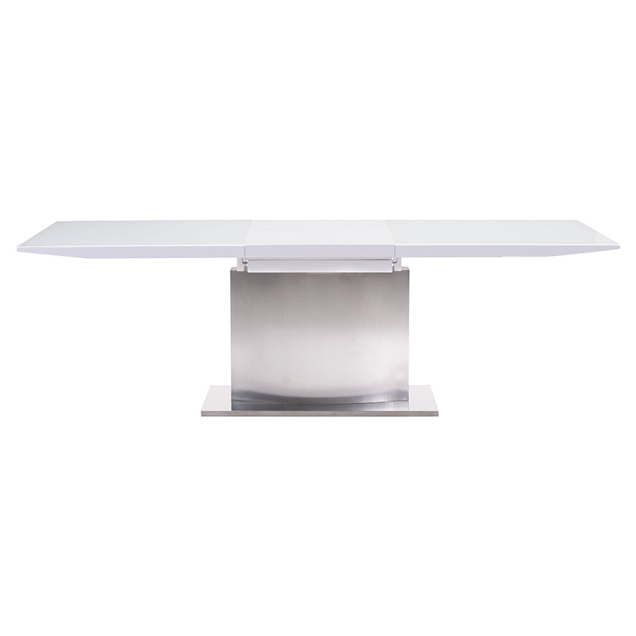 Parker Modern White Glass Extension Table - Open Side View