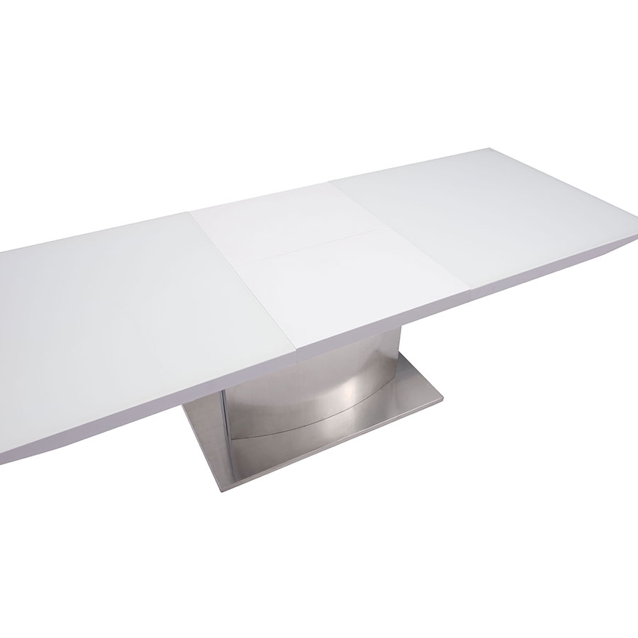 Parker Modern White Glass Extension Table - Open