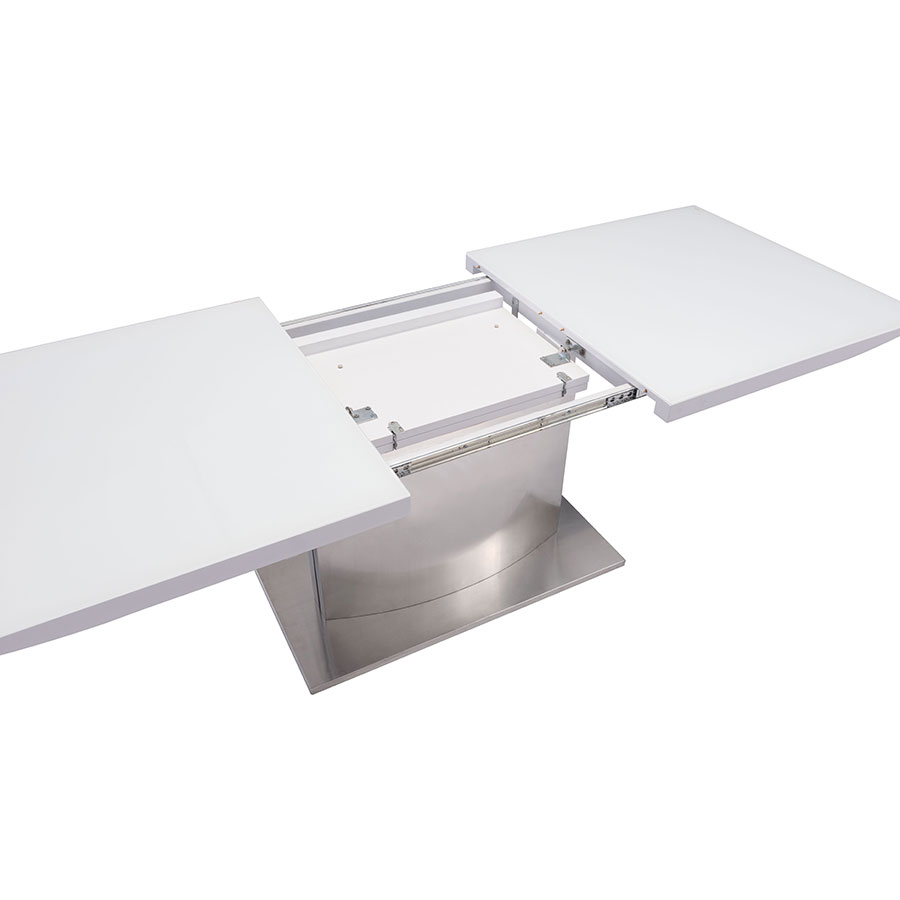 Parker Modern White Glass Extension Table - Opening