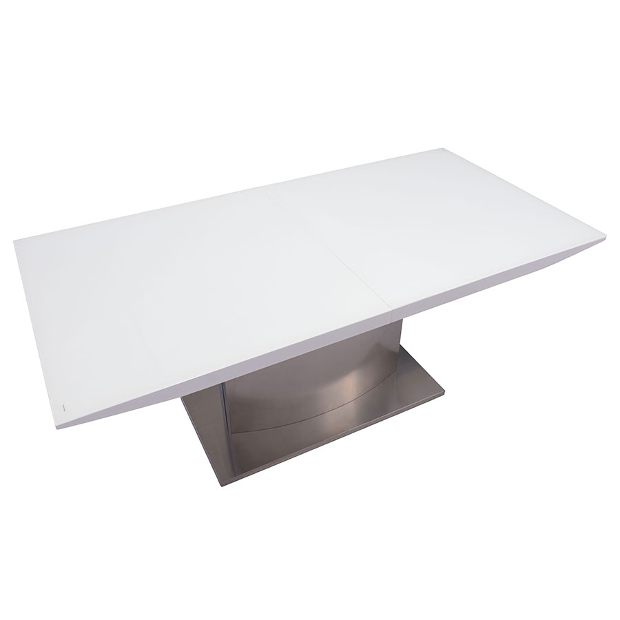 Parker Modern White Glass Extension Table - Closed Top View