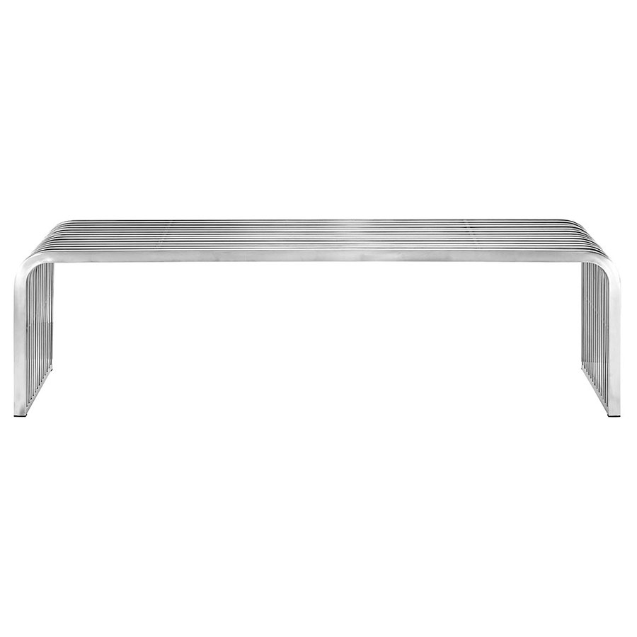 Parliament Modern Long Stainless Steel Bench - Front View